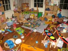 Tips for organizing real playrooms. Not playrooms from magazines, because I have actual children, not magazine children. GREAT! - have 4 boxes for the 4 seasons and you can rotate them!