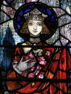 https://flic.kr/p/cCKGr7 | Sturminster Newton, Dorset | SE aisle window, by Harry Clarke of Dublin, 1921 - Virgin and child flanked by St Elizabeth of Hungary and St Barbara : detail