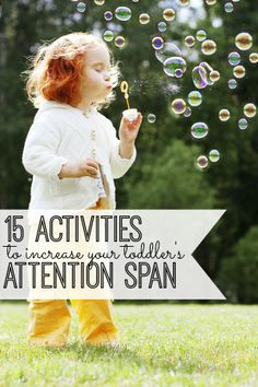 If you have a toddler, you know that keeping his/her attention on something can be difficult. Check out these 15 fantastic activities to help increase your toddler's attention span! My son loves #4!