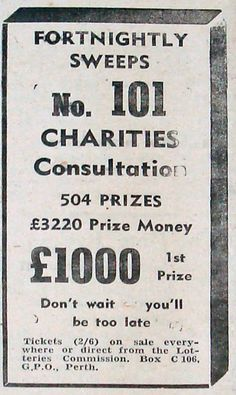 """Don't Wait - you'll be too late"" - £1000 First Prize in Fortnightly Sweeps No. 101 Charities Consultation - as advertised in April 1942."