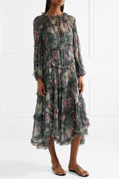Zimmermann | Iris ruffled floral-print silk-crepon midi dress | NET-A-PORTER.COM