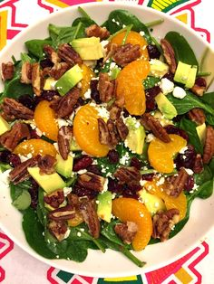 Spinach Salad With Dried Cranberries, Candied Pecans, Avocado, Feta and Oranges - AMAZING!