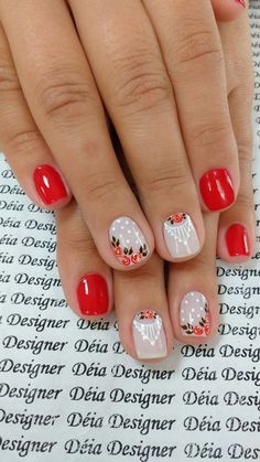 Nailed it! || Gorgeous! nail art paint color red roses nude poka dots