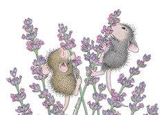 """Two little mice smelling lavender """"Monica"""" from House-Mouse Designs® Baby Mouse, Cute Mouse, House Mouse Stamps, Mouse Pictures, Mouse Color, Image Digital, Little Critter, Penny Black, Cute Images"""