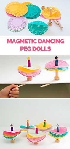 Magnetic Dancing Doily Peg Dolls. These are fun for kids to decorate with a fun twist. They actually spin around and dance! See the fun video in the post.