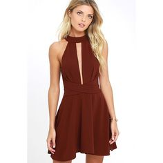Cross Your Heart Wine Red Skater Dress ($68) ❤ liked on Polyvore featuring dresses, red, skater skirts, red cut-out dresses, lulu's dresses, red skater skirt and circle skirt