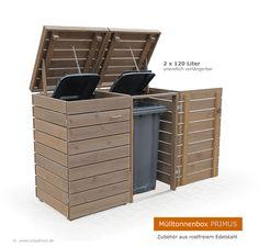 Die Mülltonnenboxen PRIMUS sind die perfekte Lösung für Ihr Tonnenproblem. Die im modernem Kubus-Design gestalteten Müllboxen beherbergen sowohl 120 Liter als auch 240 Liter Mülltonnen. Durch das Baukastensystem können Sie 1er, 2er, 3er, 4er, 5er, 6er, 7er Müllboxen oder Müllboxen mit beliebig vielen Stellplätzen gestalten - die Mülltonnenverkleidung ist unendlich verlängerbar.