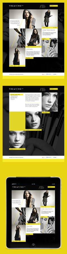 Treat Me UK Branding Proposal / Proposal for Treat Me UK, a non-profit organisation which offers women from a variety of areas complimentary sessions in makeup and grooming.free vector lettering in geometric or futuristic style from Danilo Gusmão Silveira Interface Web, User Interface Design, Ui Ux Design, Tool Design, Webdesign Inspiration, Website Design Inspiration, Graphic Design Inspiration, Web Layout, Layout Design