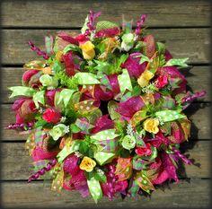 Apple Green, Pink, and Yellow Burlap Deco Mesh Wreath