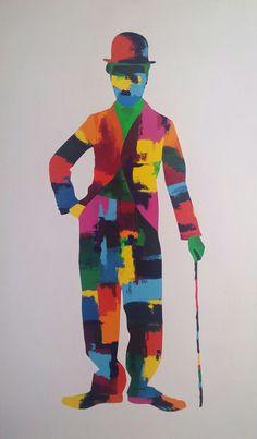 Work in progress Charlie Chaplin acrylic on canvas 150x90cm