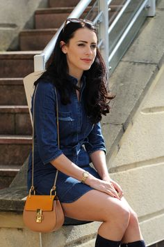 Clutch and carry on - sabrina chakici -Stevie May denim dress - Chloe Drew Yellow