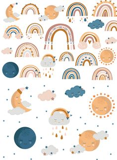 Rainbow and moon clipart / svg Rainbow digital / Color clipart Baby / Rainbow nursery vector Rainbow Art, Rainbow Nursery, Rainbow Clipart, Journal Stickers, Aesthetic Stickers, Kids Prints, Cute Illustration, Sticker Design, Cute Wallpapers