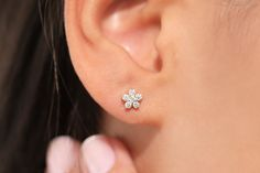Mini sized on 14k solid yellow gold studs Details about  /Diamond Ear Ring