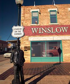 America's Coolest Desert Towns: Winslow, Arizona. Sixty miles east of Flagstaff near both the Hopi and Navajo reservations and Meteor Crater, Winslow has always been defined by the people passing through it, from an 1876 Mormon colony to Route 66, famously bringing scores of road trippers to the Petrified Forest and Painted Desert—until I-40 was built, bypassing the town completely.