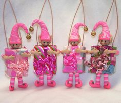 Pink Christmas Elf Ornaments