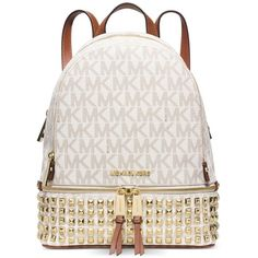 Michael Michael Kors Rhea Zip Small Studded Backpack ($358) ❤ liked on Polyvore featuring bags, backpacks, bookbags, vanilla, studded backpack, day pack backpack, michael kors, zipper bag and michael kors bags