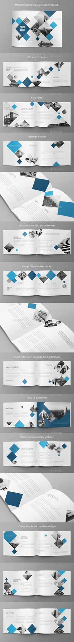 Modern Blue Squares Brochure — InDesign INDD #a4 #minimal • Available here → https://graphicriver.net/item/modern-blue-squares-brochure/11065766?ref=pxcr