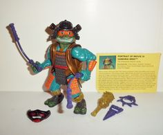 Playmates TEENAGE MUTANT NINJA TURTLES 1992 movie star III, SAMURAI MIKE 100% COMPLETE with all weapons/accessories even includes the original file card condition: c9 Excellent - Displayed only/collec