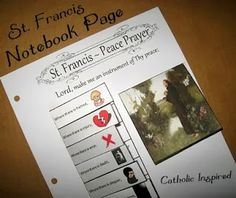 St. Francis ~ Notebooking Page {Peace Prayer} & {Opposites} - Catholic Inspired