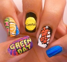 [Green Day Nails] These are pretty neat! New Nail Art, Cute Nail Art, Cute Nails, Pretty Nails, Green Day, Hair And Nails, My Nails, Band Nails, Forever Green