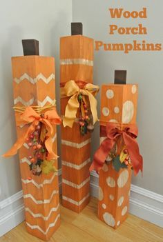 DIY Porch Pumpkins using 4x4's, Stencil-Masks & Washi Tape by Hazel & Ruby! So cute and super easy.