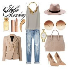 """Hello Monday"" by amrinjo ❤ liked on Polyvore featuring rag & bone, Linda Farrow, Givenchy, Balmain, Eugenia Kim, Lipsy, Kate Spade, Oscar de la Renta, Tory Burch and Charlotte Tilbury"