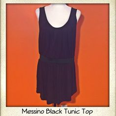 Messino Black Tunic Top Excellent condition. I bought it and never wore it. It has an elastic band around the waist to keep it slimming. Perfect with a pair of leggings or shorts. Messino Tops Tunics