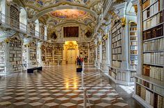 Benedictine monks know how to properly treat books... yes, this is in a monastery.  Admont, I believe.