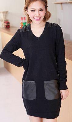 Leather stitching  V neck long sweater black