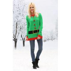 Kerst trui 3D print. Groene kerstelf trui met 3D print en belletjes. Deze vrolijke kerst trui is geschikt voor dames en heren. Kerst kostuums
