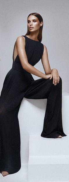 Macacão Jumpsuit Preto Longo da Luva das Mulheres -  /  Overalls Jumpsuit Black Long Sleeve Women -