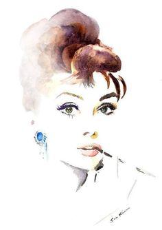 Lovely Watercolour Audrey Hepburn inspired