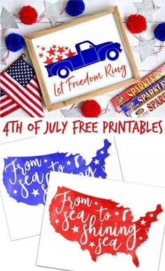 Three farmhouse style of July Free Printables - Just add these patriotic watercolor printables to your favorite farmhouse frame for an easy of July sign. The perfect way to decorate for the of July! Fourth Of July Decor, 4th Of July Decorations, 4th Of July Party, 4th Of July Wreath, July 4th, Birthday Decorations, Holiday Crafts, Holiday Fun, Blue Crafts