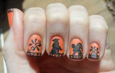 """honeyspider: """" rjdaae: """" Ancient Greek black figure pottery-inspired nails, featuring Theseus facing the Minotaur on one hand, and Oedipus pondering the riddle of the Sphinx on the other. Matte finish..."""