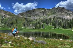 Hiking and fishing near Mica Lake in Mount Zirkel Wilderness Area. Steamboat Springs, Colorado.