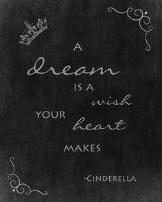 A dream is a wish your heart makes. Disney's Cinderella inspired 8X10 chalkboard wall art digital jpg file. $3.00