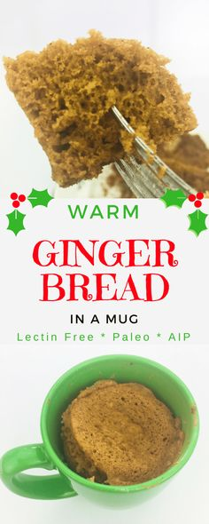 Gingerbread in a Mug - Lectin Free Christmas Cheer Give your gut some Christmas cheer with this warm, lectin-free gingerbread in a mug recipe: gluten free, grain free, casein free, and sugar free! Lectin Free Foods, Lectin Free Diet, Gluten Free Mug Cake, Gluten Free Diet, Mug Recipes, Free Recipes, Recipies, Flour Recipes, Paleo Recipes