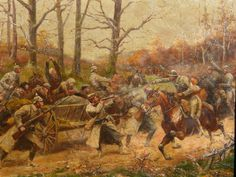 French cavalry charge against German troops