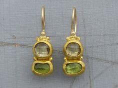 Peridot & Green Amethyst Earrings  24k Solid Gold by Omiya on Etsy