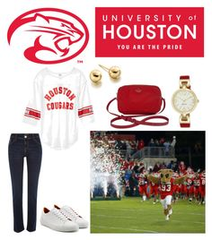 """""""University of Houston College Football"""" by horcal ❤ liked on Polyvore featuring River Island, Ludwig Reiter, Nine West, Astley Clarke, Kate Spade and gameday"""
