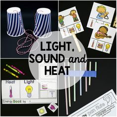 Bring light, sound and heat alive for kids with 10 hands-on and motivating science centers and activities. Study light, sound, heat, refraction, reflection, transparent, translucent, opaque, volume and pitch. Inside You'll Find --> 10 posters  --> Interactive heat, light and sound flap book  --> Name that energy clip cards  --> Paper cup phone science center and record sheet  --> Straw pan flute science center and record sheet  --> Loud or soft dauber sheet  --> Water...