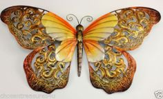 METAL BUTTERFLY WALL GARDEN SIGN DECOR 16 IN. x 9 IN.HOME DECOR GOLD ORANGE YELL