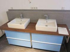 Ikea badmöbel godmorgon  Bad: Waschtisch und DIY Konsole mit Beton Ciré und Ikea Godmorgon ...