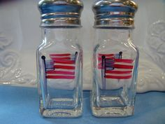 Hand Painted Salt and Pepper Shakers Red, White &  Blue by bunnyhutchdesigns, $12.00