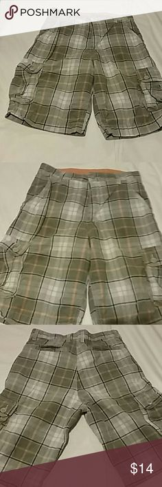 Little boys size 16 plaid grey and orange shorts Little boys size 16 shorts plaid orange and grey long shorts very cute ! Bottoms Shorts
