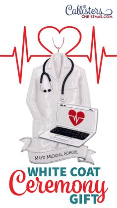Our personalized Doctor's Coat Ornament is a unique gift for a White Coat Ceremony or Medical School Acceptance or Graduation. Celebrate the doctor in your family with this Doctor Coat with Laptop ornament. It's also a great way to thank any doctor for all they do for you and your family. Doctor Coat, Doctor In, White Coat Ceremony, Old World Christmas Ornaments, Medical School, How To Make Ornaments, Laptop, Acceptance, Opportunity