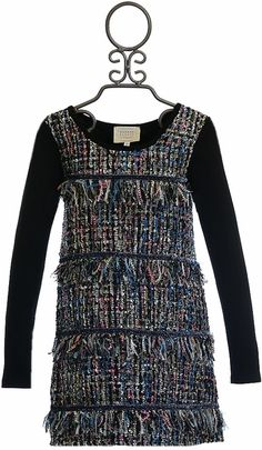 Hannah Banana Black Dress in Tweed for Girls