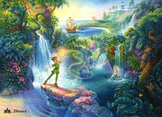 Peter Pan in Neverland's Mermaid Lagoon, overlooking Pirate's Cove.