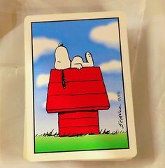 Vtg-SNOOPY-Peanuts-Celebration-PLAYING-CARDS-Hoyle-52-card-deck-USA-sports