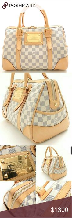 "Louis vuitton Berkley Authentic LOUIS VUITTON Damier Azur Canvas Berkeley Handbag N52001 Date Code:DU4088 (2008) Size(inch): W12.6"" x H8.7"" x D7.5""? Shoulder : 0.0 Handle drop: 3.1 Strap drop : 5.5 Material: Damier Azur Canvas Main Color : white/Gold Hardware Note: Comes with No accesories  Outside:  Bag shows signs of wear  -including: Hardware plate, Scuffs - Bottom square is Worn out, Stain  -Handle: Stain, Scuffs  -Tanned leather Interior : -shows signs of wear multiplemarks  -Overall…"